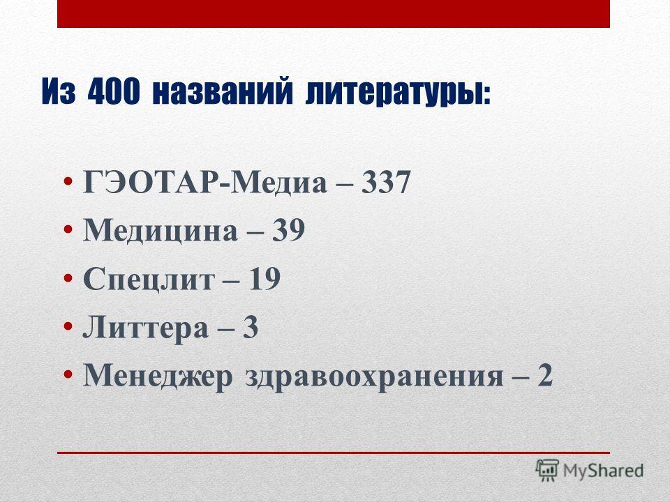 Из 400 названий литературы: ГЭОТАР-Медиа – 337 Медицина – 39 Спецлит – 19 Литтера – 3 Менеджер здравоохранения – 2