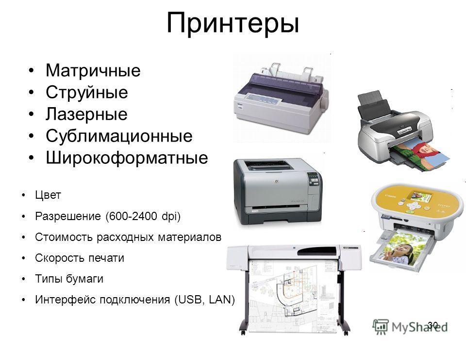 30 Принтеры Матричные Струйные Лазерные Сублимационные Широкоформатные Цвет Разрешение (600-2400 dpi) Стоимость расходных материалов Скорость печати Типы бумаги Интерфейс подключения (USB, LAN)