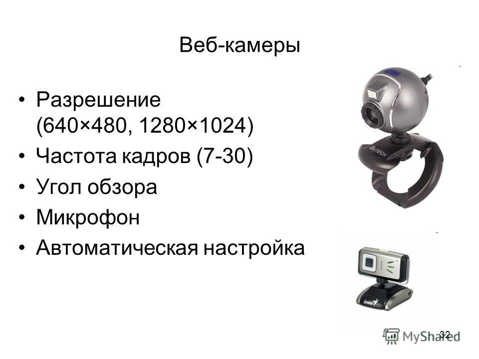32 Веб-камеры Разрешение (640×480, 1280×1024) Частота кадров (7-30) Угол обзора Микрофон Автоматическая настройка