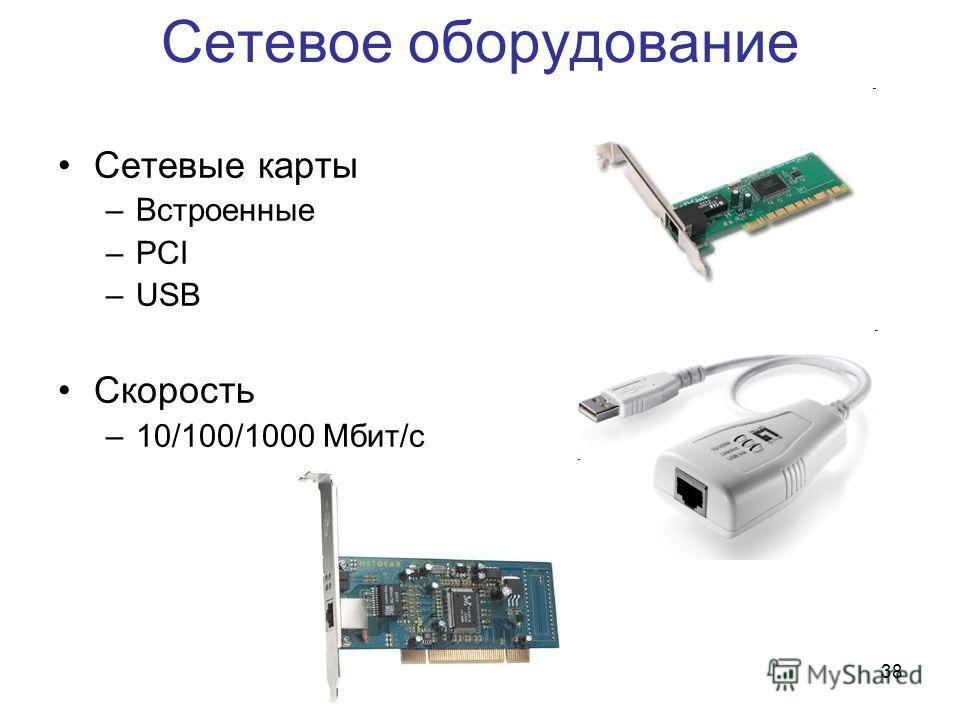 38 Сетевое оборудование Сетевые карты –Встроенные –PCI –USB Скорость –10/100/1000 Мбит/с