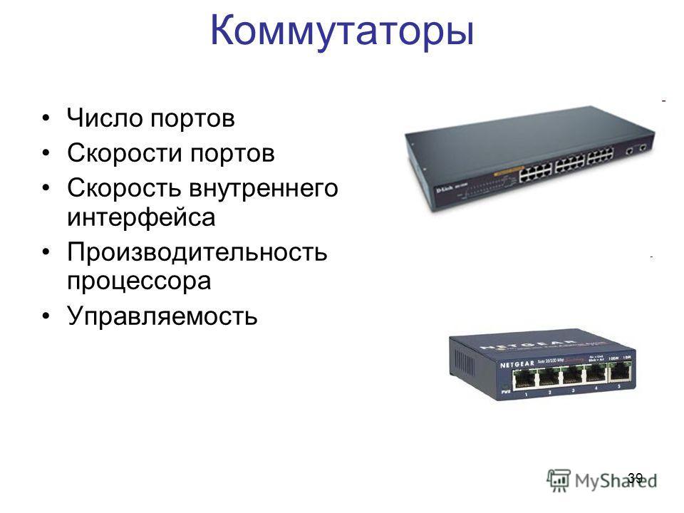 39 Коммутаторы Число портов Скорости портов Скорость внутреннего интерфейса Производительность процессора Управляемость