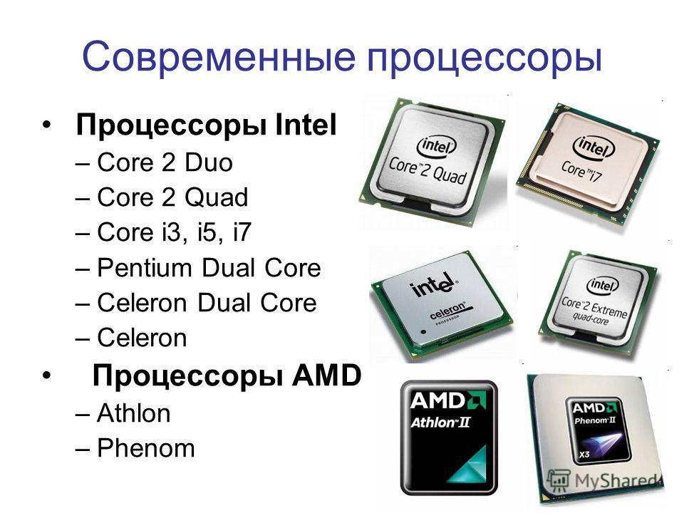 5 Современные процессоры Процессоры Intel –Core 2 Duo –Core 2 Quad –Core i3, i5, i7 –Pentium Dual Core –Celeron Dual Core –Celeron Процессоры AMD –Athlon –Phenom