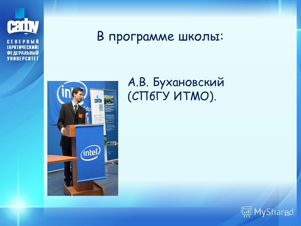 15 В программе школы: А.В. Бухановский (СПбГУ ИТМО).