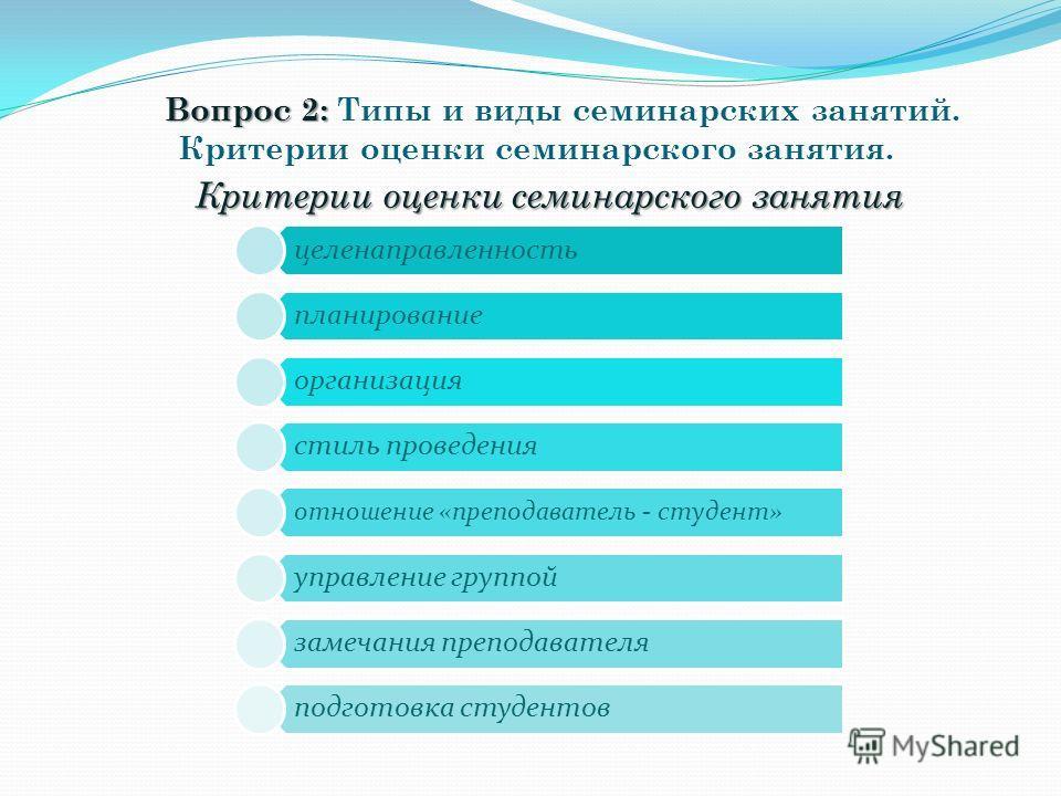 Вопрос 2: Вопрос 2: Типы и виды семинарских занятий. Критерии оценки семинарского занятия. Критерии оценки семинарского занятия целенаправленность планирование организация стиль проведения отношение «преподаватель - студент» управление группой замеча