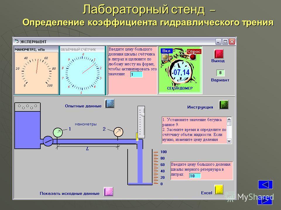 Лабораторный стенд – Определение коэффициента гидравлического трения Определение коэффициента гидравлического трения