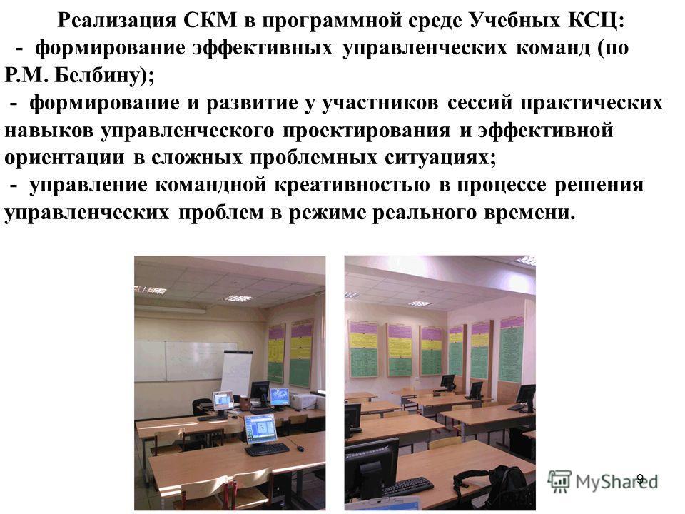Реализация СКМ в программной среде Учебных КСЦ: - формирование эффективных управленческих команд (по Р.М. Белбину); - формирование и развитие у участников сессий практических навыков управленческого проектирования и эффективной ориентации в сложных п