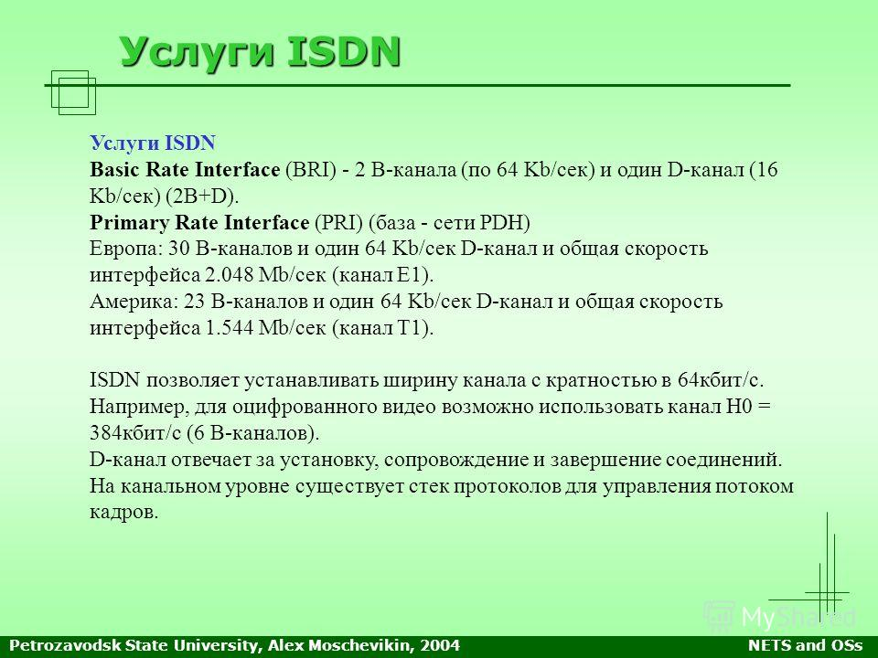 Petrozavodsk State University, Alex Moschevikin, 2004NETS and OSs Услуги ISDN Basic Rate Interface (BRI) - 2 В-канала (по 64 Kb/сек) и один D-канал (16 Kb/сек) (2B+D). Primary Rate Interface (PRI) (база - сети PDH) Европа: 30 В-каналов и один 64 Kb/с