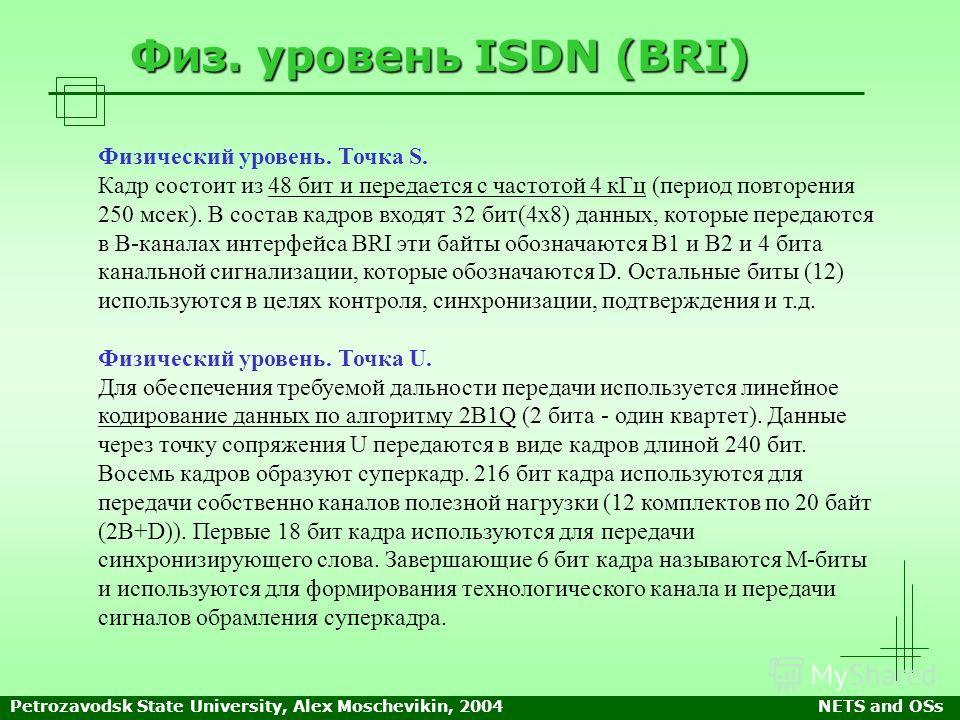 Petrozavodsk State University, Alex Moschevikin, 2004NETS and OSs Физ. уровень ISDN (BRI) Физический уровень. Точка S. Кадр состоит из 48 бит и передается с частотой 4 кГц (период повторения 250 мсек). В состав кадров входят 32 бит(4х8) данных, котор