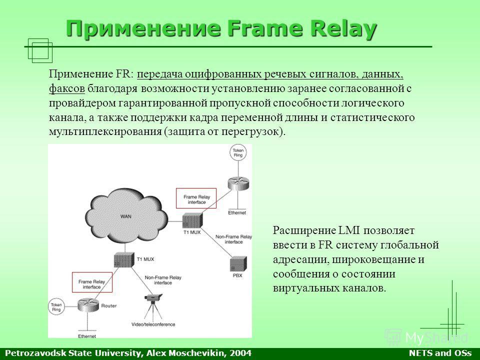 Petrozavodsk State University, Alex Moschevikin, 2004NETS and OSs Применение Frame Relay Применение FR: передача оцифрованных речевых сигналов, данных, факсов благодаря возможности установлению заранее согласованной с провайдером гарантированной проп