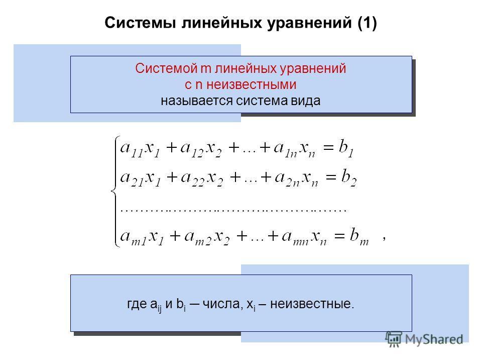 Системы линейных уравнений (1) Системой m линейных уравнений с n неизвестными называется система вида где a ij и b i числа, x i – неизвестные.,