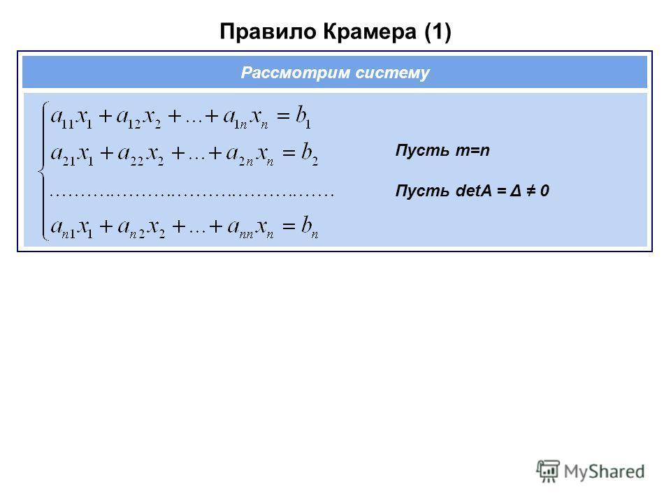 Правило Крамера (1) Пусть m=n Пусть detA = Δ 0 Рассмотрим систему