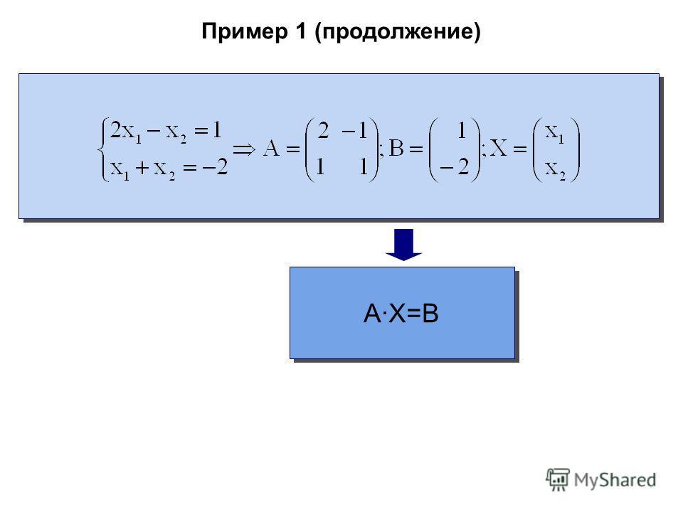 Пример 1 (продолжение) A·X=B