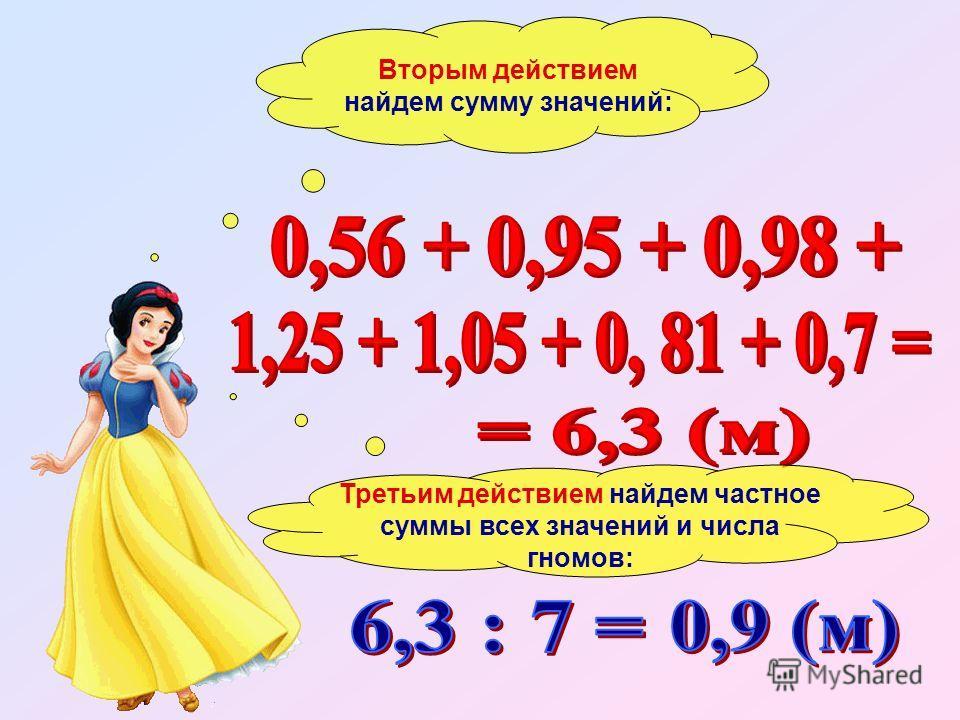 Вторым действием найдем сумму значений: Третьим действием найдем частное суммы всех значений и числа гномов: