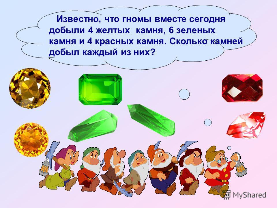 Известно, что гномы вместе сегодня добыли 4 желтых камня, 6 зеленых камня и 4 красных камня. Сколько камней добыл каждый из них?