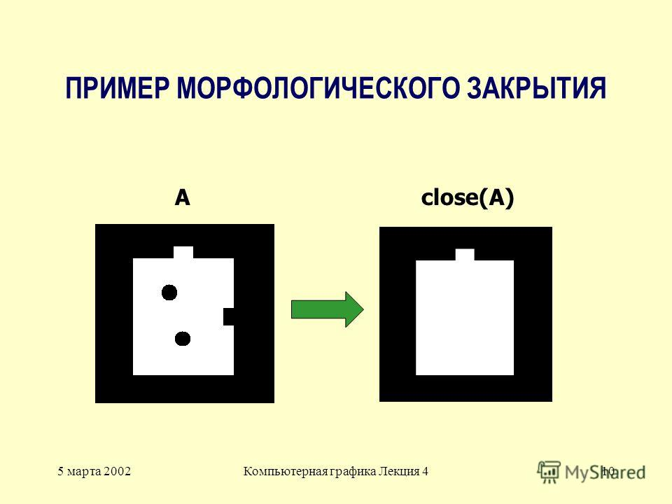 5 марта 2002Компьютерная графика Лекция 410 ПРИМЕР МОРФОЛОГИЧЕСКОГО ЗАКРЫТИЯ Aclose(A)