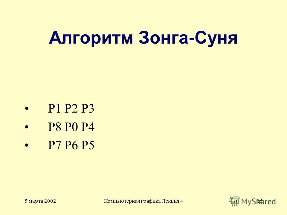 5 марта 2002Компьютерная графика Лекция 415 Алгоритм Зонга-Суня P1 P2 P3 P8 P0 P4 P7 P6 P5