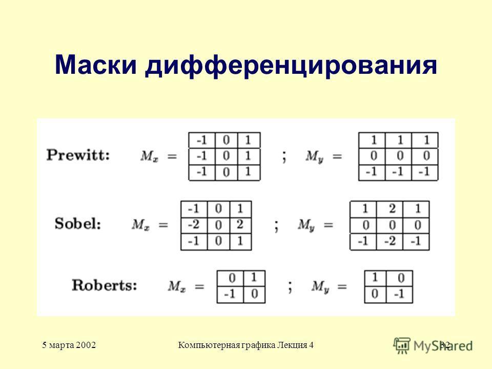5 марта 2002Компьютерная графика Лекция 432 Маски дифференцирования