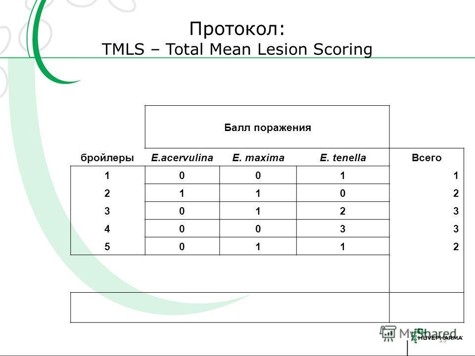 Протокол: TMLS – Total Mean Lesion Scoring 19 Балл поражения бройлерыE.acervulinaE. maximaE. tenellaВсего 10011 21102 30123 40033 50112