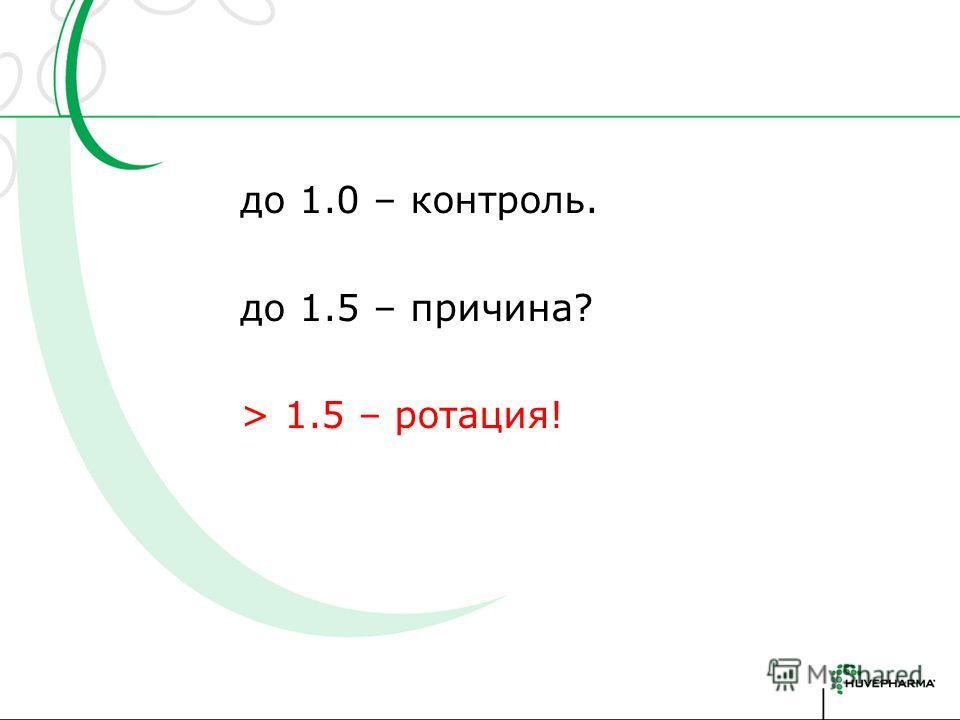 до 1.0 – контроль. до 1.5 – причина? > 1.5 – ротация!