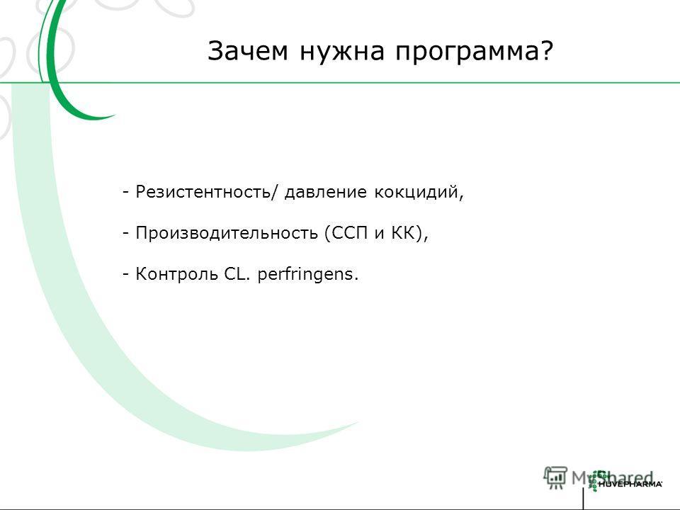 Зачем нужна программа? - Резистентность/ давление кокцидий, - Производительность (ССП и КК), - Контроль CL. perfringens.