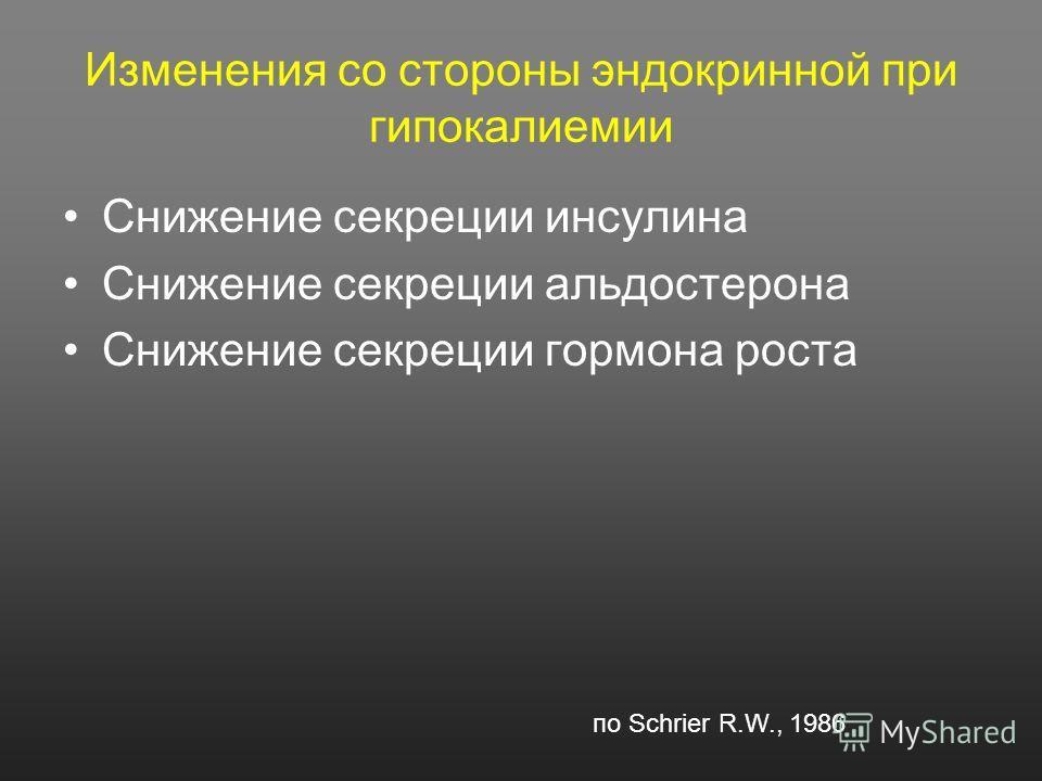Изменения со стороны эндокринной при гипокалиемии Снижение секреции инсулина Снижение секреции альдостерона Снижение секреции гормона роста по Schrier R.W., 1986