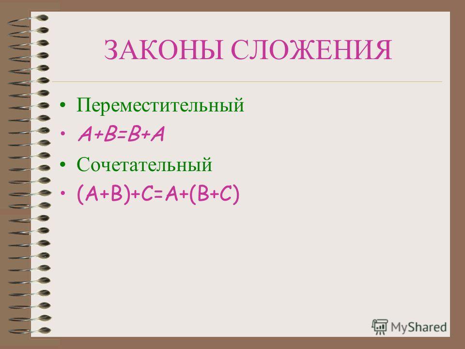 ЗАКОНЫ СЛОЖЕНИЯ Переместительный А+В=В+А Сочетательный (А+В)+С=А+(В+С)