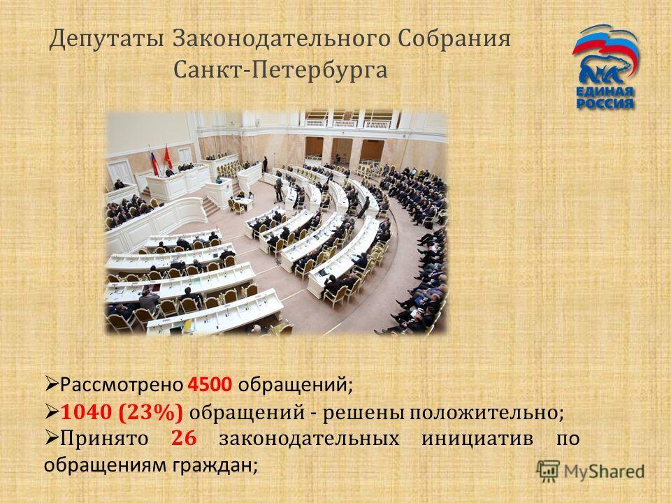 Депутаты Законодательного Собрания Санкт-Петербурга Рассмотрено 4500 обращений; 1040 (23%) обращений - решены положительно; Принято 26 законодательных инициатив п о обращениям граждан;