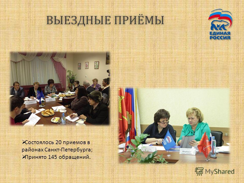 ВЫЕЗДНЫЕ ПРИЁМЫВЫЕЗДНЫЕ ПРИЁМЫ Состоялось 20 приемов в районах Санкт-Петербурга; Принято 145 обращений.