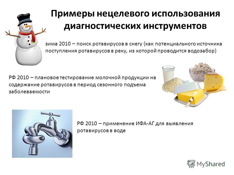 Примеры нецелевого использования диагностических инструментов зима 2010 – поиск ротавирусов в снегу (как потенциального источника поступления ротавирусов в реку, из которой проводится водозабор) РФ 2010 – плановое тестирование молочной продукции на с