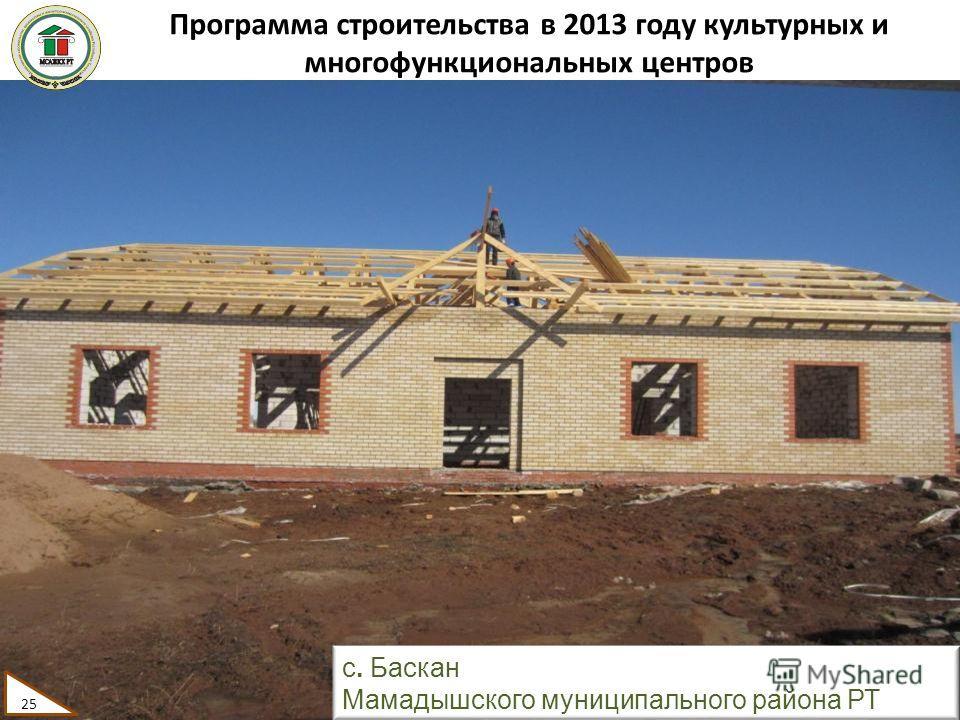 Программа строительства в 2013 году культурных и многофункциональных центров 25 с. Баскан Мамадышского муниципального района РТ 25