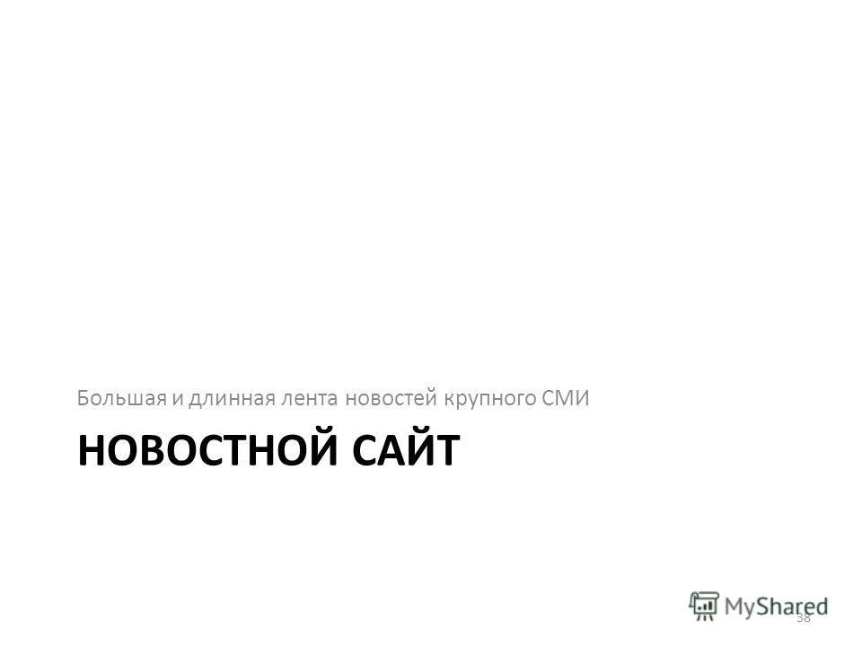 НОВОСТНОЙ САЙТ Большая и длинная лента новостей крупного СМИ 38