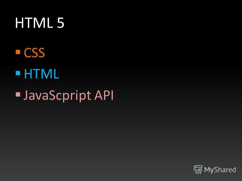 HTML 5 CSS HTML JavaScpript API