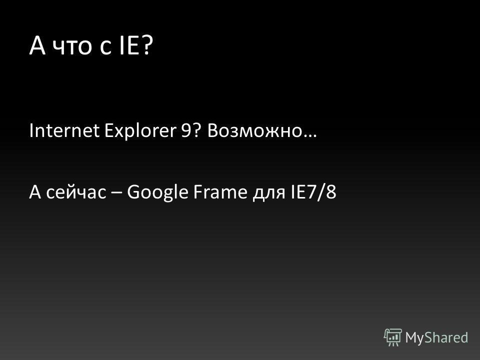 А что с IE? Internet Explorer 9? Возможно… А сейчас – Google Frame для IE7/8