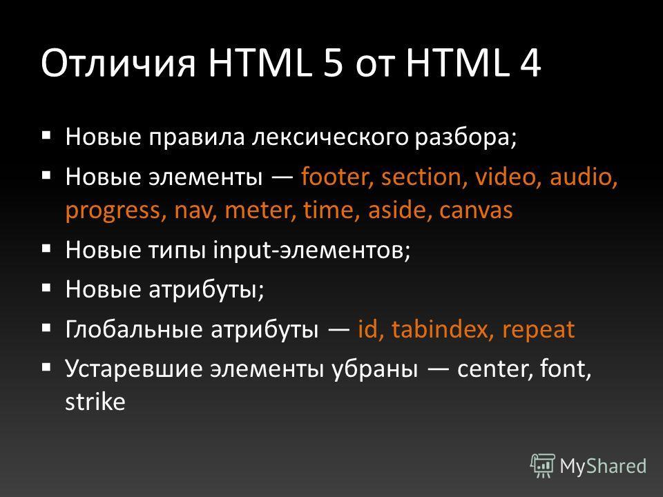 Отличия HTML 5 от HTML 4 Новые правила лексического разбора; Новые элементы footer, section, video, audio, progress, nav, meter, time, aside, canvas Новые типы input-элементов; Новые атрибуты; Глобальные атрибуты id, tabindex, repeat Устаревшие элеме