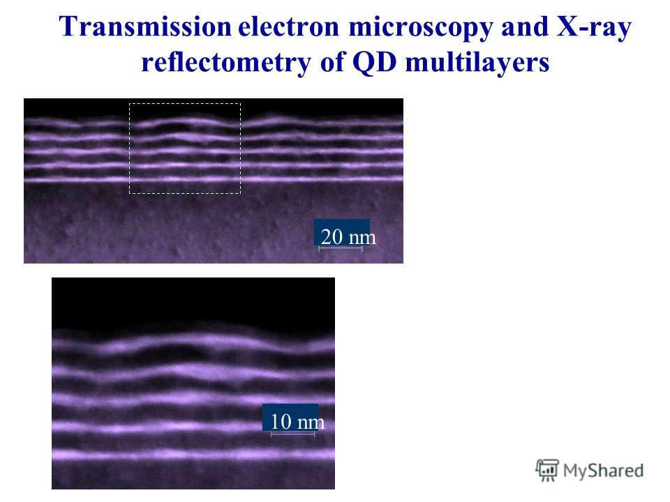 Transmission electron microscopy and X-ray reflectometry of QD multilayers 10 nm 20 nm