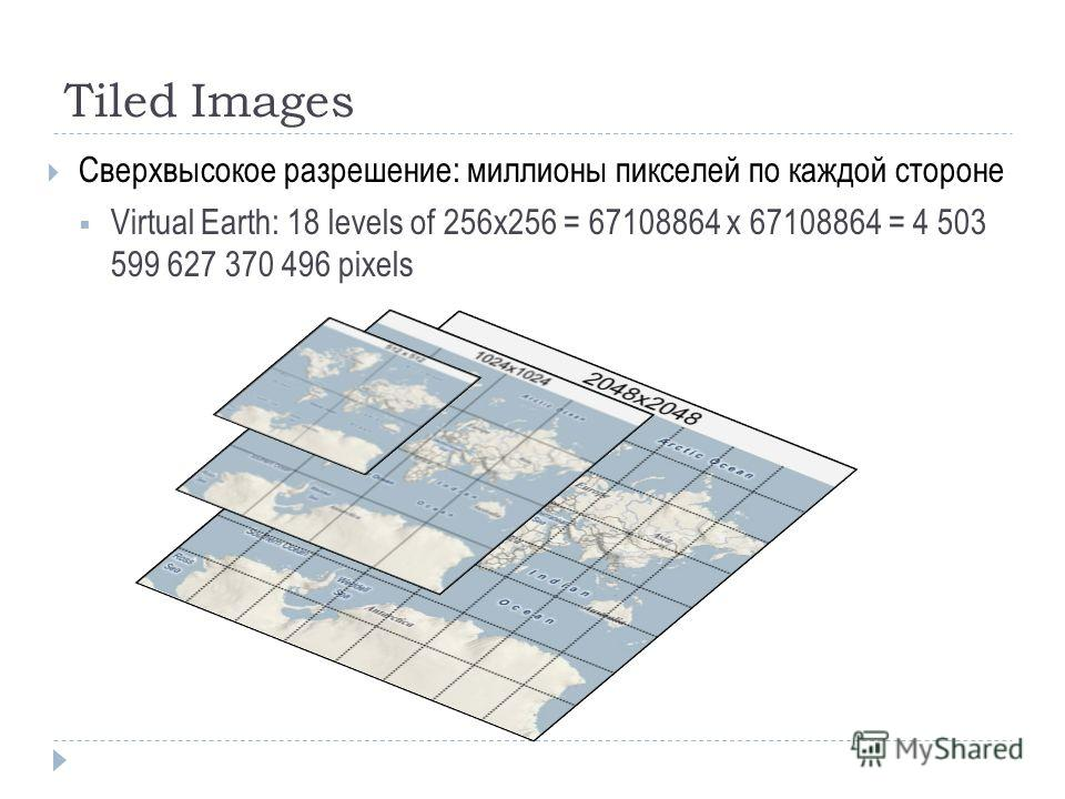 Tiled Images Сверхвысокое разрешение: миллионы пикселей по каждой стороне Virtual Earth: 18 levels of 256x256 = 67108864 x 67108864 = 4 503 599 627 370 496 pixels