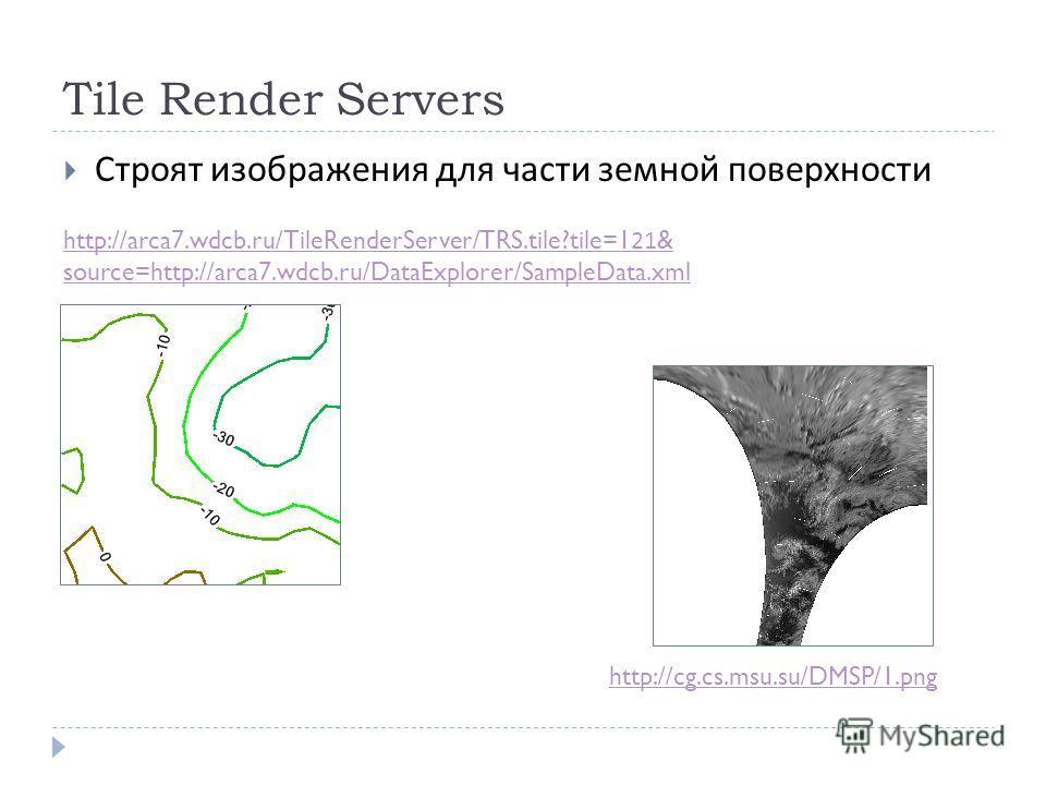 Tile Render Servers Строят изображения для части земной поверхности http://cg.cs.msu.su/DMSP/1.png http://arca7.wdcb.ru/TileRenderServer/TRS.tile?tile=121& source=http://arca7.wdcb.ru/DataExplorer/SampleData.xml