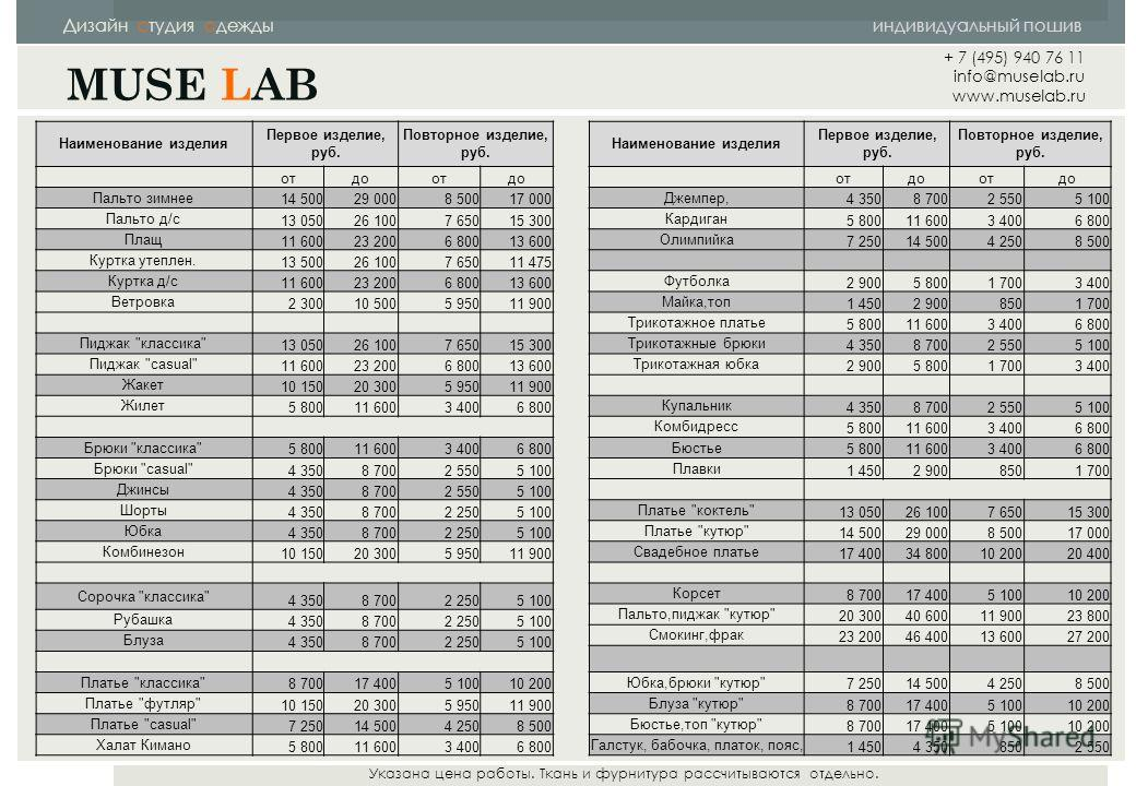 Дизайн студия одежды индивидуальный пошив MUSE LAB Указана цена работы. Ткань и фурнитура рассчитываются отдельно. Наименование изделия Первое изделие, руб. Повторное изделие, руб. отдоотдо Пальто зимнее 14 50029 0008 50017 000 Пальто д/с 13 05026 10