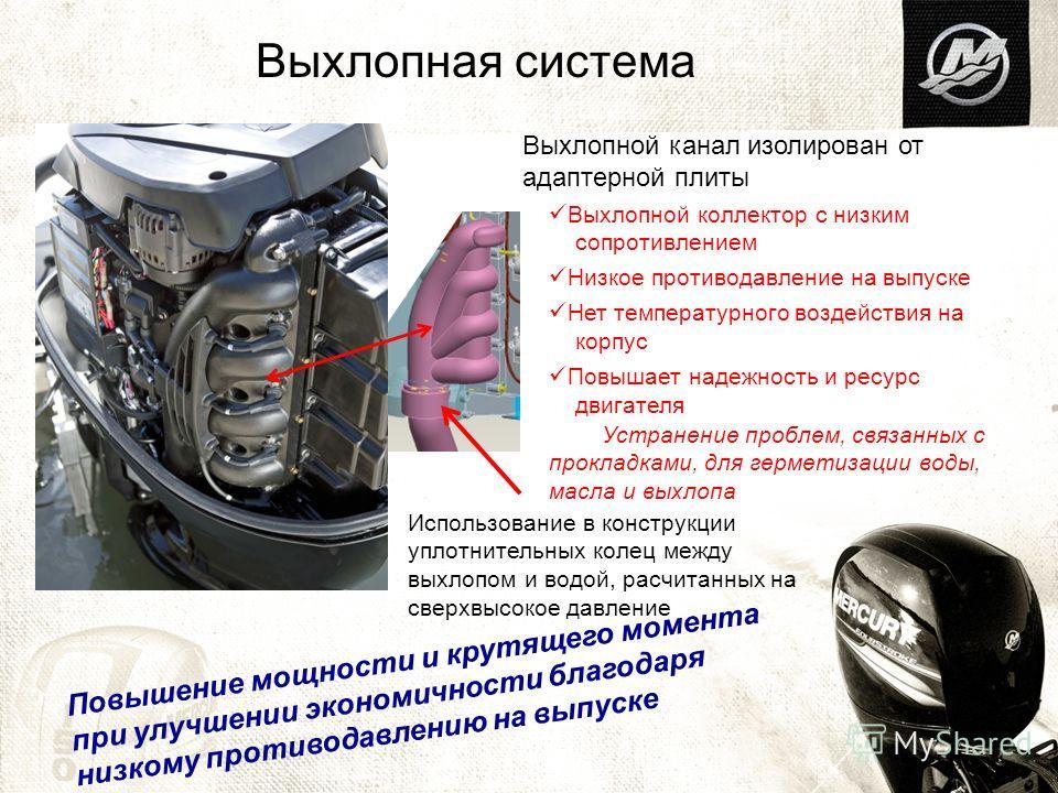 Выхлопная система Выхлопной канал изолирован от адаптерной плиты Выхлопной коллектор с низким сопротивлением Низкое противодавление на выпуске Нет температурного воздействия на корпус Повышает надежность и ресурс двигателя Устранение проблем, связанн