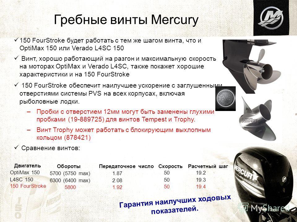 Гребные винты Mercury 150 FourStroke будет работать с тем же шагом винта, что и OptiMax 150 или Verado L4SC 150 Винт, хорошо работающий на разгон и максимальную скорость на моторах OptiMax и Verado L4SC, также покажет хорошие характеристики и на 150