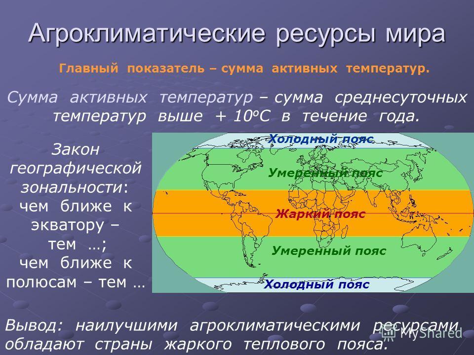 Агроклиматические ресурсы мира Главный показатель – сумма активных температур. Сумма активных температур – сумма среднесуточных температур выше + 10 о С в течение года. Закон географической зональности: чем ближе к экватору – тем …; чем ближе к полюс
