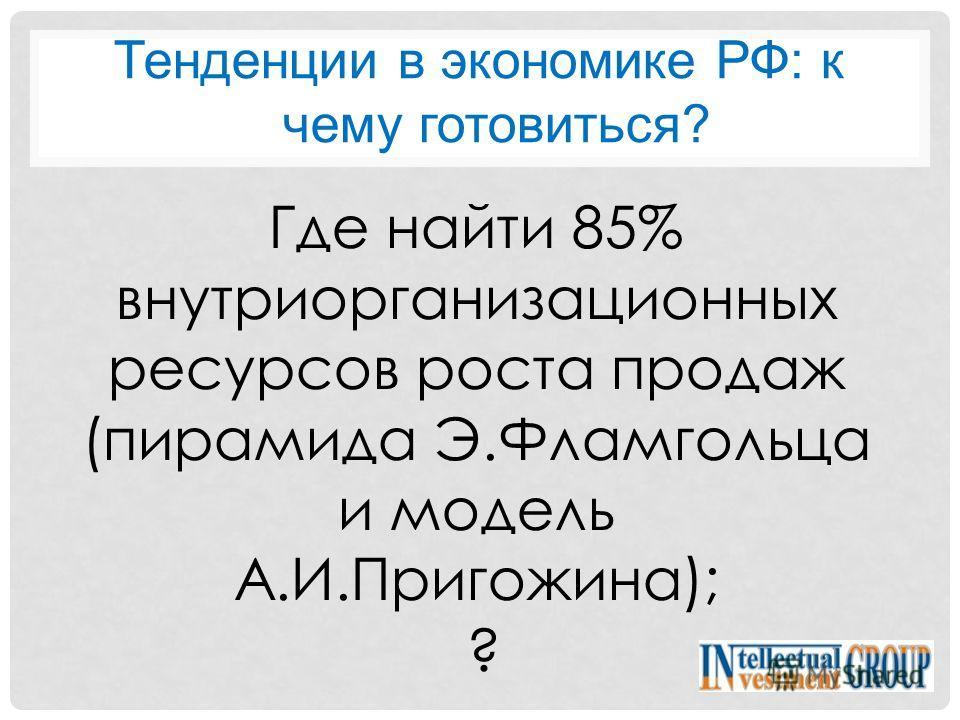 Тенденции в экономике РФ: к чему готовиться? Где найти 85% внутриорганизационных ресурсов роста продаж (пирамида Э.Фламгольца и модель А.И.Пригожина); ?