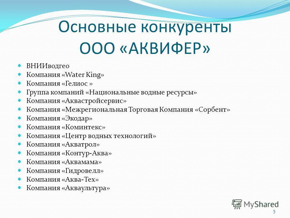 Основные конкуренты ООО «АКВИФЕР» ВНИИводгео Компания «Water King» Компания «Гелиос » Группа компаний «Национальные водные ресурсы» Компания «Аквастройсервис» Компания «Межрегиональная Торговая Компания «Сорбент» Компания «Экодар» Компания «Коминтекс