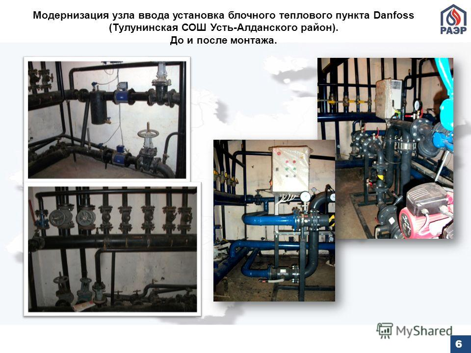 Модернизация узла ввода установка блочного теплового пункта Danfoss (Тулунинская СОШ Усть-Алданского район). До и после монтажа. 6