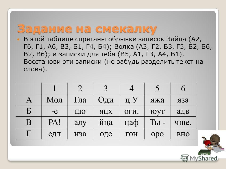 Задание на смекалку В этой таблице спрятаны обрывки записок Зайца (А2, Г6, Г1, А6, В3, Б1, Г4, Б4); Волка (А3, Г2, Б3, Г5, Б2, Б6, В2, В6); и записки для тебя (В5, А1, Г3, А4, В1). Восстанови эти записки (не забудь разделить текст на слова). 123456 А