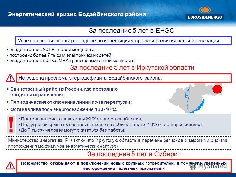 ! Энергетический кризис Бодайбинского района Единственный район в России, где постоянно вводятся ограничения; Периодические отключения линий из-за перегрузки; Останавливалось энергоснабжение при -40ºС. Постоянный риск отключения ЖКХ от энергоснабжени