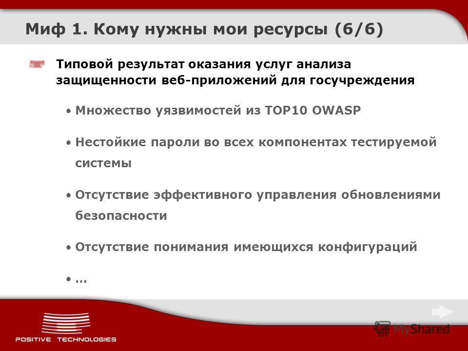 Миф 1. Кому нужны мои ресурсы (6/6) Типовой результат оказания услуг анализа защищенности веб-приложений для госучреждения Множество уязвимостей из TOP10 OWASP Нестойкие пароли во всех компонентах тестируемой системы Отсутствие эффективного управлени