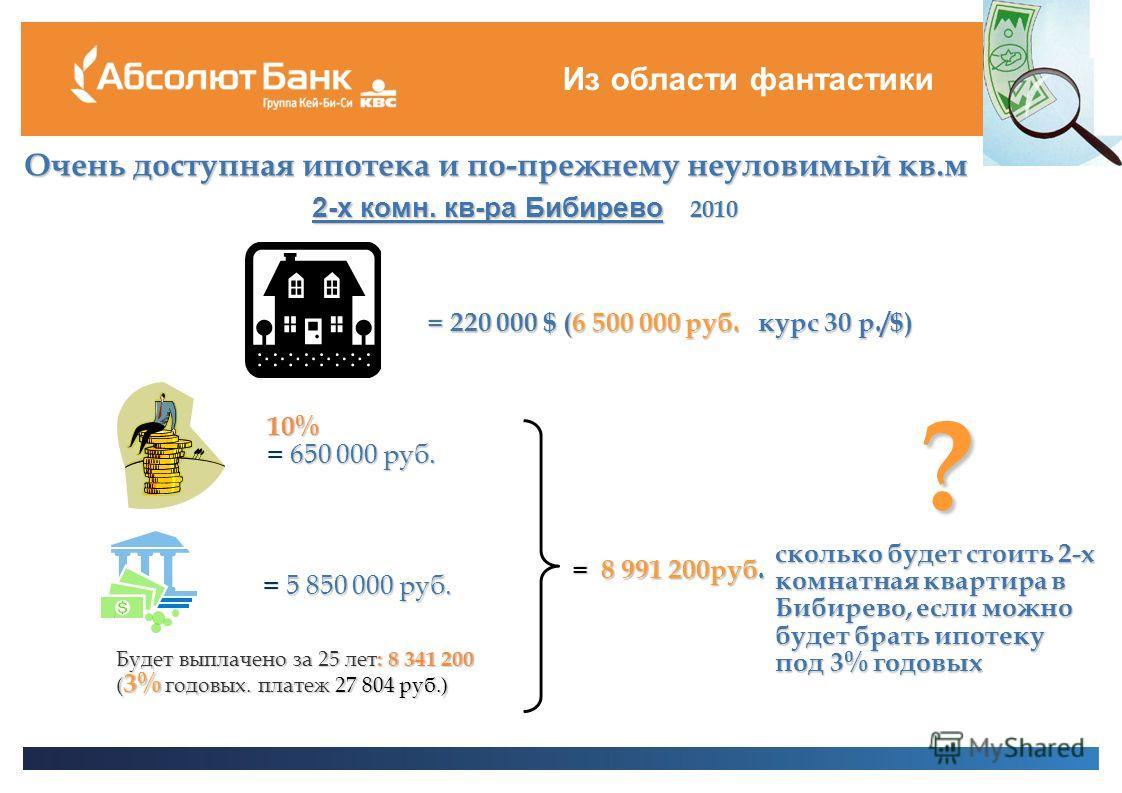 Из области фантастики Очень доступная ипотека и по-прежнему неуловимый кв.м 2-х комн. кв-ра Бибирево 2010 = 220 000 $ (6 500 000 руб. курс 30 р./$) = 5 850 000 руб. Будет выплачено за 25 лет : 8 341 200 ( 3% годовых. платеж 27 804 руб.) = 8 991 200ру