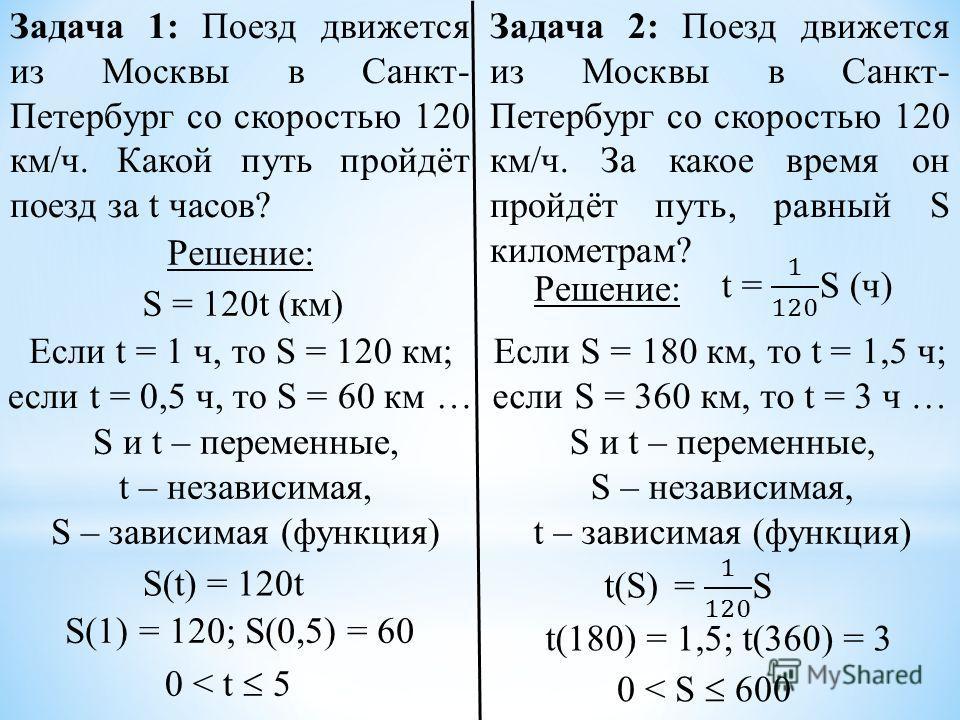 Задача 1: Поезд движется из Москвы в Санкт- Петербург со скоростью 120 км/ч. Какой путь пройдёт поезд за t часов? Задача 2: Поезд движется из Москвы в Санкт- Петербург со скоростью 120 км/ч. За какое время он пройдёт путь, равный S километрам? Решени