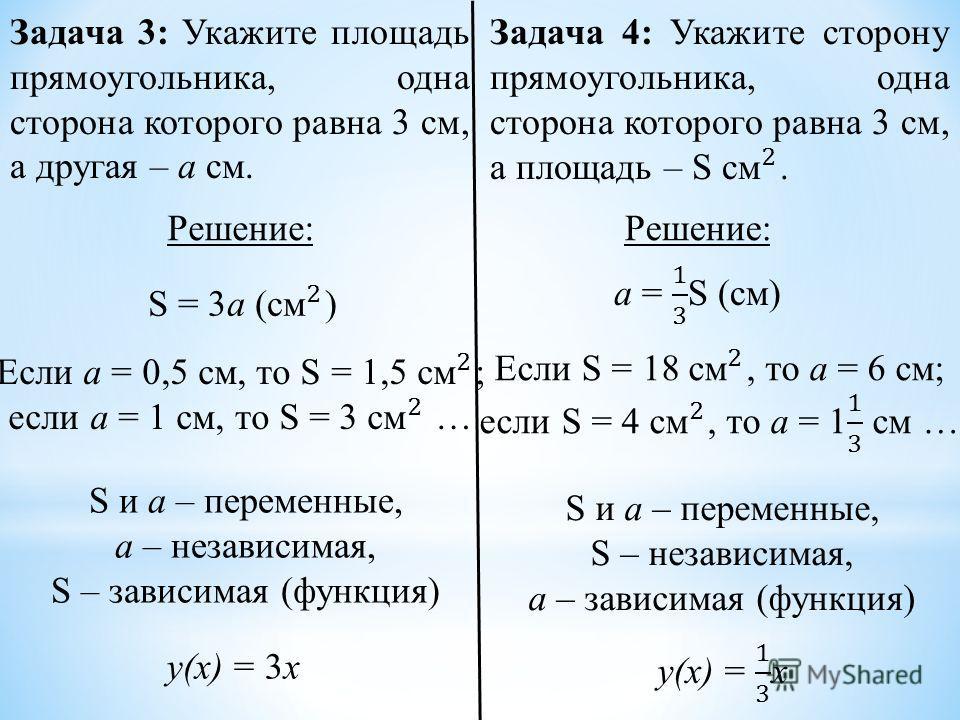 Задача 3: Укажите площадь прямоугольника, одна сторона которого равна 3 см, а другая – а см. Решение: S и а – переменные, а – независимая, S – зависимая (функция) S и а – переменные, S – независимая, а – зависимая (функция) у(х) = 3х